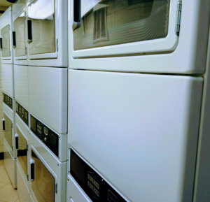 Dryers lined up in a stack