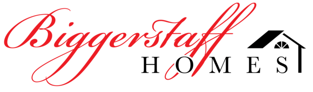 Logo for Biggerstaff Homes in red calligraphy, black letters and illustration of a roof, side and window of house