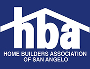 Logo for Home Builders Association of San Angelo in white lettering on blue box, with larger white letters h, b, a under white line in shape of roof