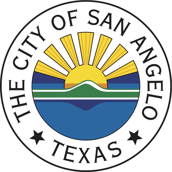 Circle with logo for The City of San Angelo, Texas, illustrating blue for water, green for land, and orange and yellow for the sunrise.